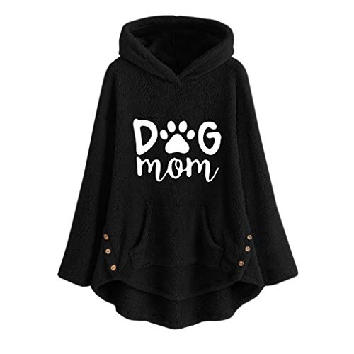 NANTE Top Women's Blouse Dog Mom Fleece Cat Embroidery Warm Hoodie Top Button Sweater Oversize Blouse Coat Plus Size Clothing (XXXX-Large, Black)