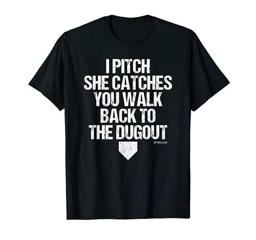 Girls Fastpitch Catcher Pitcher Funny Softball T-Shirt