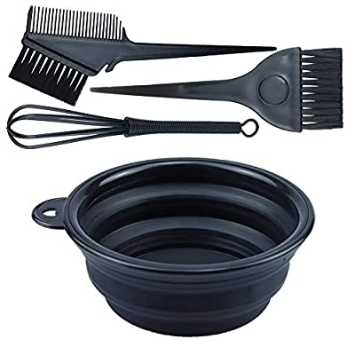 4PCS Hair Dye Kit Includes Hair Tinting Bowl Dyeing Brushes Sharp Tail Comb Mixer for DIY Hair Coloring Beauty Salon Tools Set