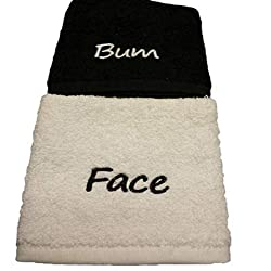 Bum and Face embroidered Face Cloth, made with 100% Cotton