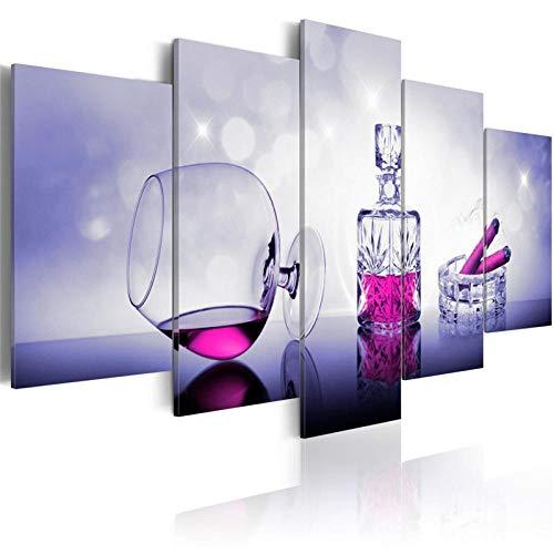 CSDECOR Art Mural De Pared 200X100 Cm 5 Piezas Moderno Abstracto Lienzo Impresión Cigarros Pintura Vino Carteles E Impresiones Gafas Arte De Pared Cuadros para Decoración De Bar