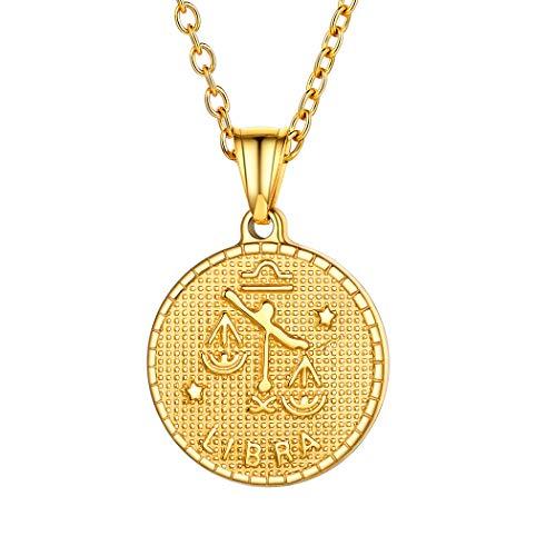 Suplight Sternzeichen Kette für Damen Mädchen 18k vergoldet Retro-Stil Münzenkette mit Horoskop Symbol Waage Runde Sternbilder Anhänger Halskette tolles Geschenk für Weihnachten Gerburtstag
