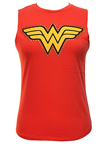 Wet Seal Women's Studded Wonder Woman Muscle Tank S Red