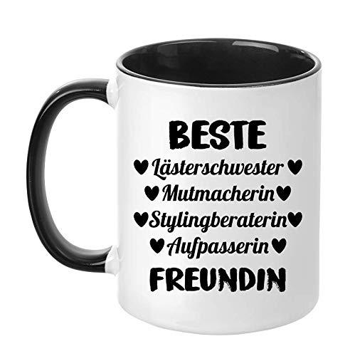 """TassenTicker -""""Beste Lästerschwester, Mutmacherin, Stylingberaterin, Aufpasserin Freundin - Liebe - Freundschaft - Herz - Beste Freundin - Geschenk - Geschenkidee (Schwarz)"""