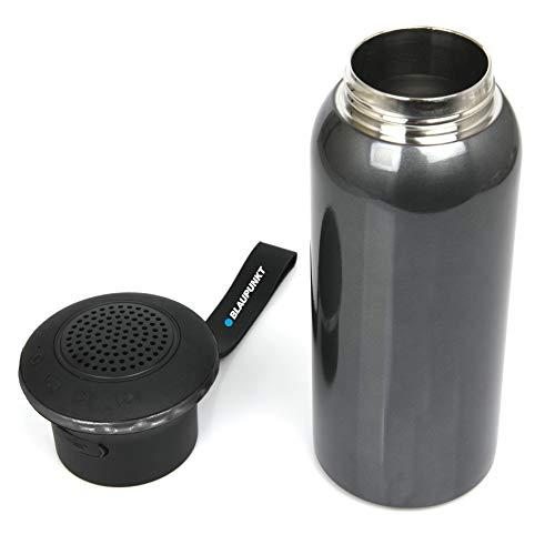 Blaupunkt MP3110-133 Lautsprecher mit Thermoskanne, Edelstahl, Bluetooth, 3 W, 460 ml, Schwarz