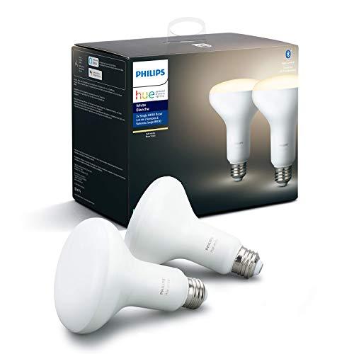 Philips Hue White 2-Pack BR30 LED Smart Bulb, Bluetooth & Zigbee Compatible (Hue Hub Optional), for...