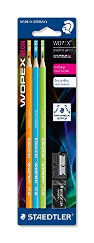 STAEDTLER Bleistift Noris eco, hohe Bruchfestigkeit, rutschfeste Soft-Oberfläche, innovatives Wopex-Material, Härtegrad HB, Blisterkarte mit 3 Bleistiften Noris eco, Neon-Farben, 180FSBK3-2