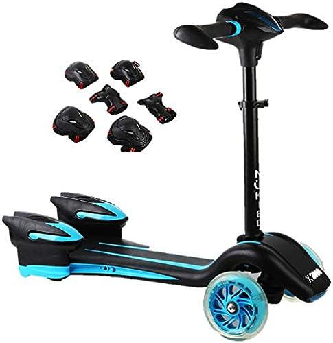 Dreiradscooter Scooter Boys Scooter mit Schutzausrüstung, Light Up Wheels Tretroller mit breitem Deck und verstellbarem Griff, Schwarz(Farbe   Blau)