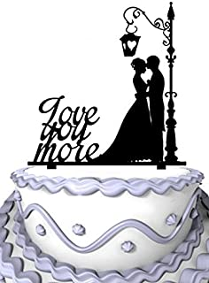 Meijiafei Cursive Love You More Groom and Bride Wedding Cake Topper Silhouette