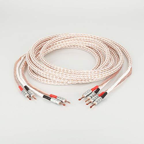Par de Cables de Altavoz HiFi de 12TC con Alambre de Altavoz BFA Banana Jack (Length : 1m)