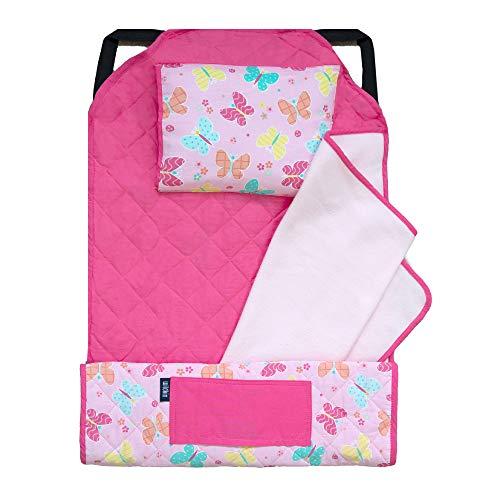 Wildkin Kids Modern Nap Mat with Pillow for Toddler Boys & Girls, Ideal for Daycare & Preschool, Features Elastic Corner Straps, Cotton Blend Materials Nap Mat for Kids, BPA-free (Butterfly Garden)