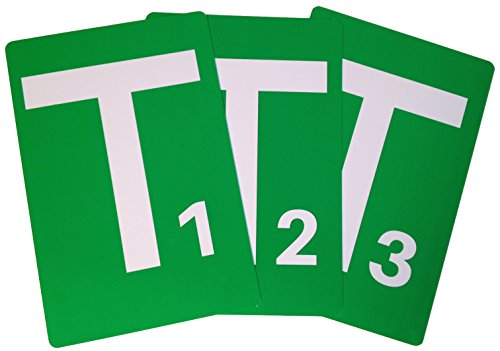 Handball Team Time Out Tafel - 3er Set, A5, PVC Karte mit abgerundeten Ecken, Grüne Karte T1, T2 und T3 gem. Handballregeln