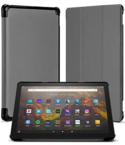 Goospery Flip Funda Compatible con Amazon Fire HD 10 (Solo Compatible con el Tablet de 11.ª generación, Modelo de 2021) - Carcasa Trasera de TPU Suave con Auto-Reposo/Activación (Gris)