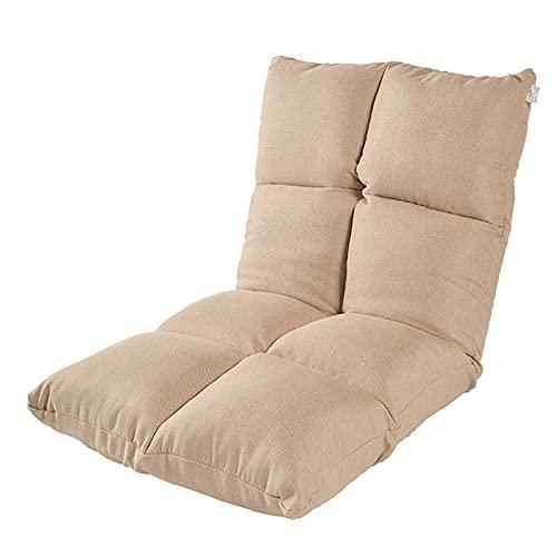 BYPING Bodenloungesessel, Lazy Sofa Aus Leinenstoff Gaming-Leseliege, Verstellbare 5-stufige Klappstühle Für Balkon, Home Office, 5 Farben (Color : Beige, Size : 48X55X55CM)