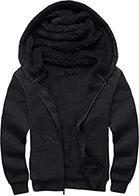 Men's Zip Up Hoodie Heavyweight Winter Full Zip Fleece Hooded Sweatshirt Black 2XL
