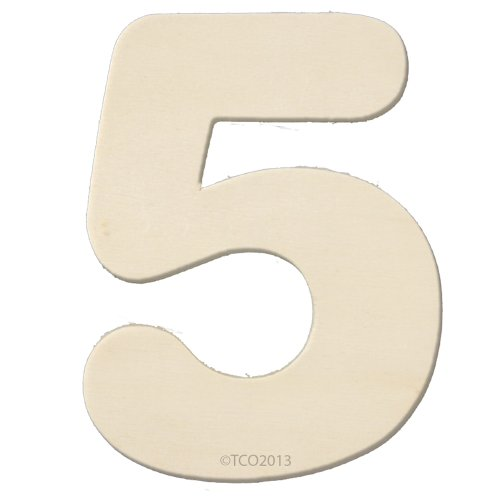 4 Wooden Number 4mm Thick About 3-1/4 Wide Number (5) Unfinished Plywood Number