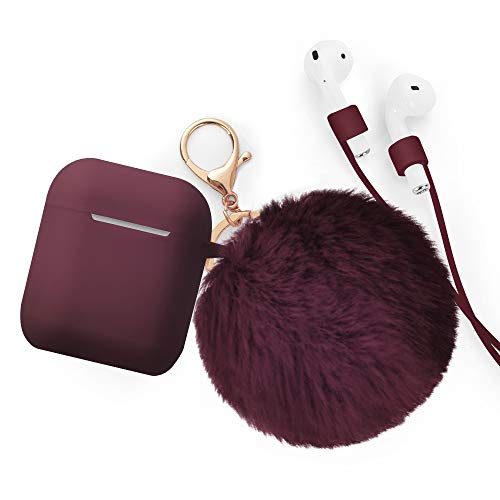 Airpods Accessories - CAMMATE Airpods Silicone Hang Case Cover with Anti-lost Strap, Fur Ball Keychain, Headphone Accessories for Apple Airpod (Burgundy)
