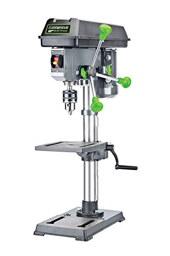 "Genesis GDP1005A 10"" 5-Speed 4.1 Amp Drill Press with 5/8"" Chuck, Integrated LED Work Light, and Table that Rotates 360° and Tilts 0-45°"