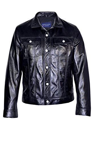 Homme Style Noir Camionneur Courte Longueur Hip Nappa Veste en Cuir (UK Large/EU 52)