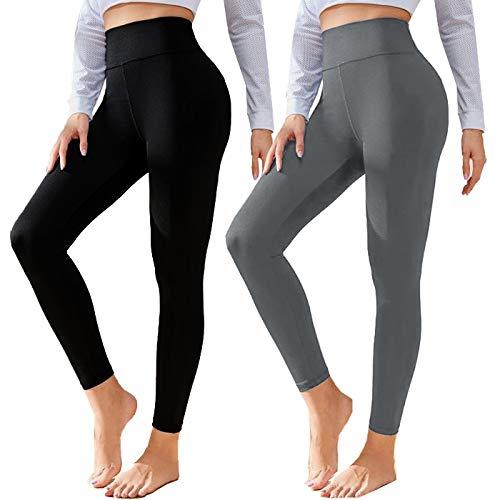 Polainas negras de algodón para mujer de talle alto suave control de la barriga pantalones de yoga de entrenamiento más tamaño y cálido - - 34/44/S-M (talla de un talla)