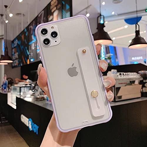 LIUYAWEI Estuche para teléfono con Correa para la muñeca para iPhone 11 Pro MAX XR XS X Funda Transparente Ultrafina con Soporte para iPhone 7 8 6 6s Plus, Morado, para iPhone XS