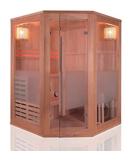 Sauna Traditionnel Vapeur finlandais 3 Places Angulaire - en Épicéa - Poêle Harvia et Accessoires Inclus
