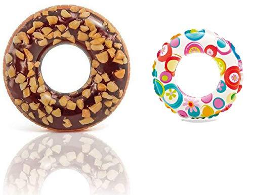 Donut aufblasbar XL Luftmatratze Schwimmreifen Schwimmring Wasserschwimmring Luft Ring Wassermatratze Donutring lustig Chocolate für Pool Kinder Erwachsene 114 cm groß braun