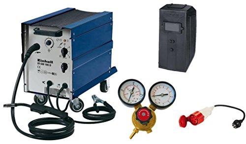 Einhell Schutzgas Schweißgerät BT-GW 190 D (41 V, inkl. Masseklemme, Brenner, Ventilatorkühlung, fahrbar, Schweiߟschirm, Druckminderer, Adapterkabel)