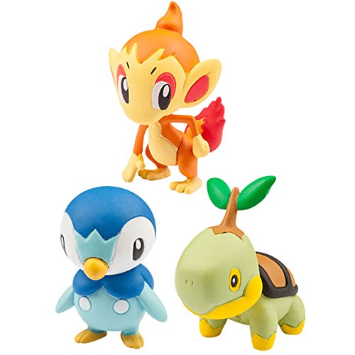 Pokemon Monster Collection EX 20th Anniversary 3 Pokemon of the Journey (Piplup, Chimchar, Turtwig) (Plinfa, Panflam, Chelast) Vol.4 The Sinnoh Region