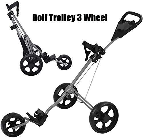 MROSW Golftrolley, Golfwagen mit 3 Rädern, drehbar, klappbar, mit Getränkehalter