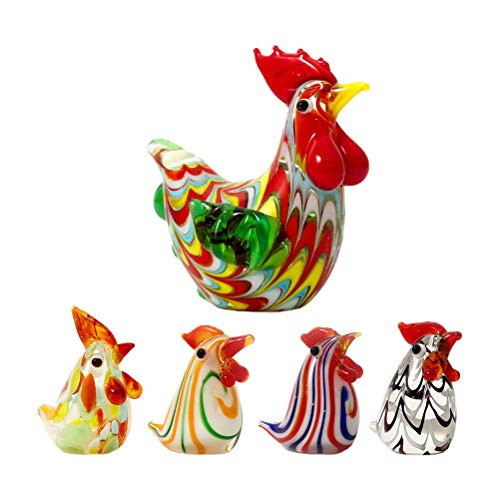Glass Rooster Chicken Figurines Mini Glass Chicken Statues Crystal Mini Figurines Glass Farm Animals Action Figures Cake Topper (Random Style)