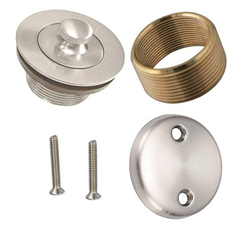 Wood Grip Universal Conversion Kit Bathtub Tub Drain Assembly, All Brass Construction (Satin Nickel)
