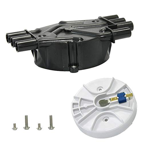 Ignition Distributor Cap and Rotor Kit Compaitble with Chevy CMC 4.3 Vortec 1996-2005 Astro, 1995-2005 Blazer, 1995-2004 S10, 1999-2006 Silverado, 1995-2001 Jimmy with Replace OE # D328A 10452458 D465