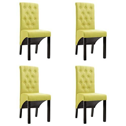 vidaXL 4X Esszimmerstuhl Küchenstuhl Lehnstuhl Hochlehner Stuhlgruppe Essstuhl Stuhl Stühle Polsterstuhl Esszimmerstühle Sitzgruppe Grün Stoff