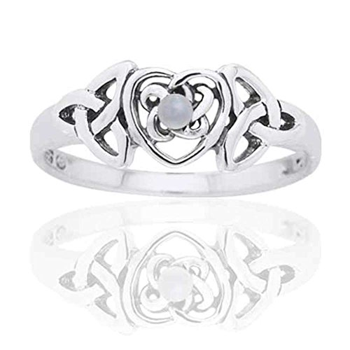 June Birthstone Ring - Sterling Silver Mother of Pearl Celtic Trinity Knot Heart Size 8(Sizes 4,5,6,7,8,9,10)