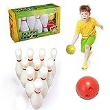 Jeu de quilles pour enfants et adultes Jeu de quilles pour jeux d'intérieur ou d'extérieur Enfants Éducation précoce Jeux de quilles pour la famille 2 grandes quilles 10 boule de bowling