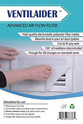 """Ventilaider Complete Air Vent Filter Set 20"""" x 84"""" Electrostatic Media With 126"""" of Installation Tape 35+ Filters per Roll for HVAC, AC & Heating Intake Registers & Grilles"""