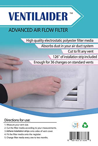 Ventilaider Complete Air Vent Filter Set 20' x 84' Electrostatic Media With 126' of Installation Tape 35+ Filters per Roll for HVAC, AC & Heating Intake Registers & Grilles to Reduce Dust and Allergy