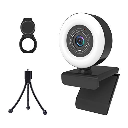 2K Webcam with Ring Light, Monodeal USB Streaming webcam with Microphone for PC Laptop Mac Windows Zoom Skype Teams OBS, USB Web Camera with Adjustable Brightness and touch Control