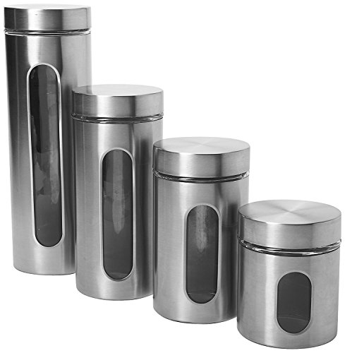Anchor Hocking Palladian Glass and Stainless Steel Canister Set with Airtight Lids, Brushed Stainless Steel, 4-Piece Set
