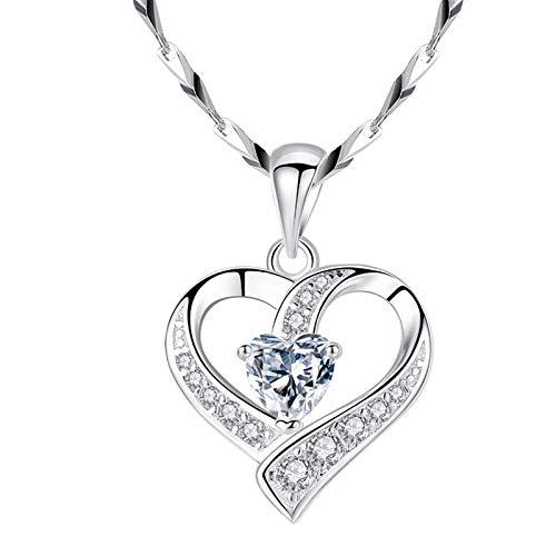 Love Heart Pendant Necklace for Women, Creative Swan Dance Sports Necklace, Fashion Diamond Love Elegant Rhinestone Pendant Jewelry for Christmas
