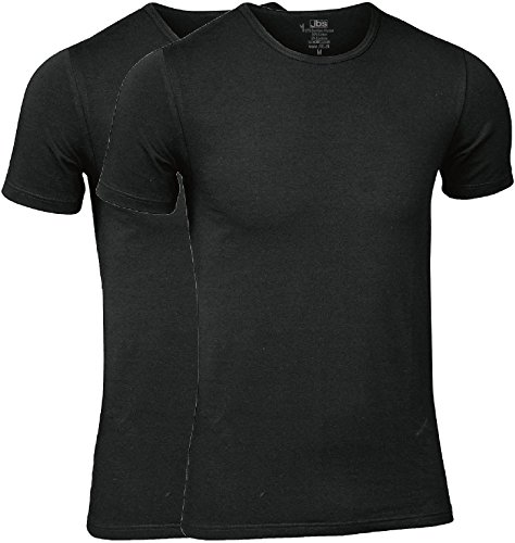 jbs - High-quality t-shirt for men in a double pack - undershirt made of viscose (made of bamboo cellulose) and cotton. - Black - Large