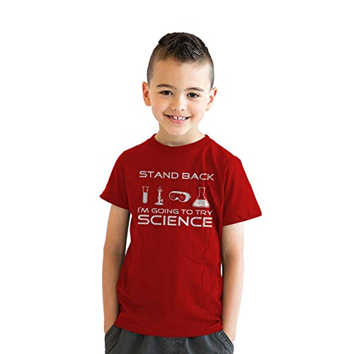 Youth Stand Back Science Funny Shirts Cool Humorous Nerdy T Shirts for Geeks (Red) - S