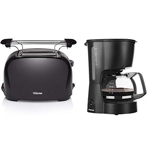 Tristar BR-1025 Toaster - 6 einstellbare Bräunungsstufen mit Brötchenaufsatz & Kaffeemaschine mit 600 ML Fassungsvermögen - ideal für Campings geeignet [für bis zu 6 Tassen], CM-1246