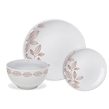 Safdie & Co. HK02357 Rose Gold Foliage Dinnerware Set, White