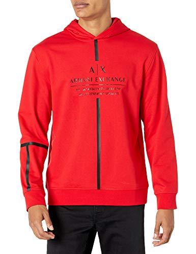 ARMANI EXCHANGE Sweatshirt Felpa con Cappuccio, Absolute Red, XL Uomo