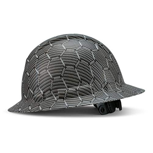 Full Brim Customized Ridgeline ABS White Hard Hat Custom Gray Honeycomb Design Safety Helmet With 6 Point Suspension Flag Decal Included By Acerpal