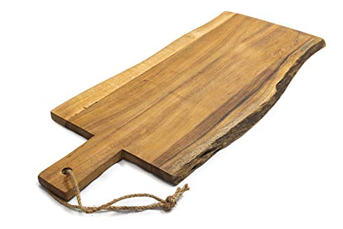 Pushpanjali grote serveerplank van acacia rustieke snijplank of ontbijtplank hout 60 cm Fair Trade