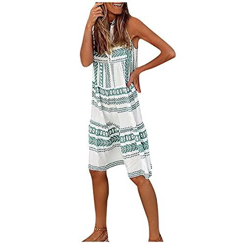 URIBAKY - Vestido de mujer con cuello en V, falda a la moda, informal, sin mangas, espalda abierta, vestido sexy verde L