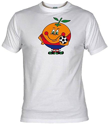 Camiseta Naranjito Adulto/niño EGB ochenteras 80´s Retro (XL, Blanco)